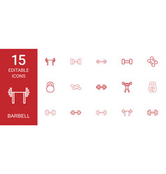 15 barbell icons vector image