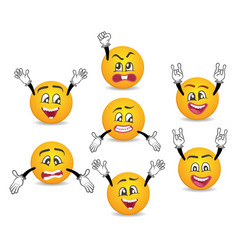 3d funny smileys faces with hands gesture set vector