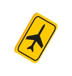Airport yellow sign icon isometric 3d style vector