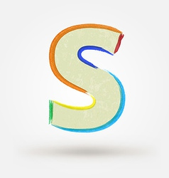 Alphabet letter S Watercolor paint design element vector