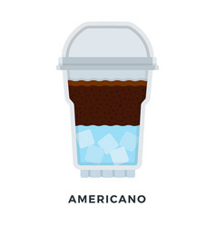 American ice coffee in a clear plastic glass vector