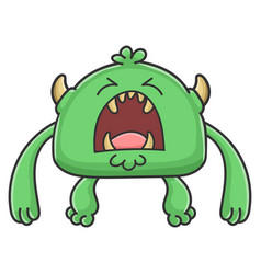 Angry yelling green goblin cartoon monster vector