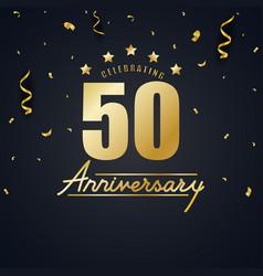 Anniversary celebration design with gold confetti vector