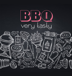 Barbecue round banner blackboard style vector