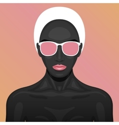 beauty Woman with black paint Skin vector image