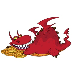 big dragon with money vector image