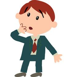 Boy dressed like a businessman in surprise vector