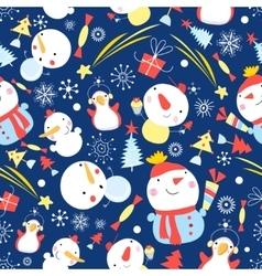 Bright Christmas pattern of snowmen vector image