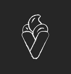 bubble waffle ice cream chalk white icon on black vector image