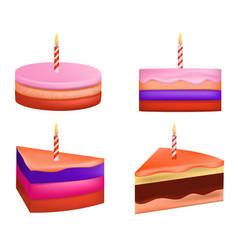cake birthday icons set realistic style vector image