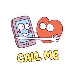 Call me mobile phone heart cartoon characters vector