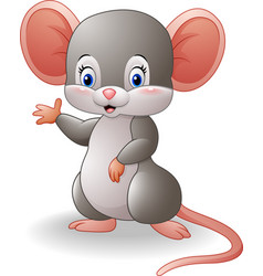 cartoon mouse waving hand vector image