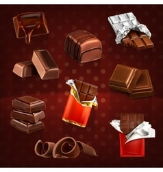 Chocolate bars and pieces vector image vector image