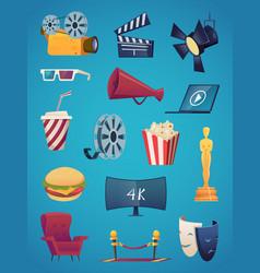 cinema icon collection movie theatre vector image