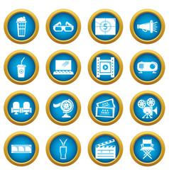 cinema icons set symbols simple style vector image