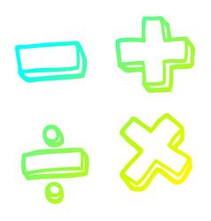 Cold gradient line drawing cartoon math symbols vector