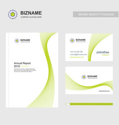 company brochure design with green theme and gear vector image
