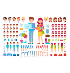 Constructor students cartoon isolated vector