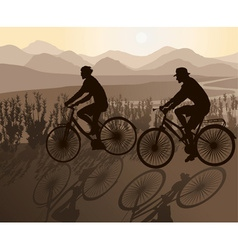 Couple on Bicycles on a Scenic Ride vector image
