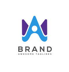 creative letter a or w with abstract human logo vector image
