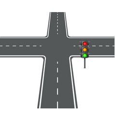 Crossroads view flat intersection trafficlight vector