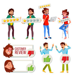 Customer review set business positive vector