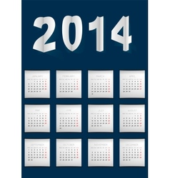 Dark Blue Calendar For 2014 vector image