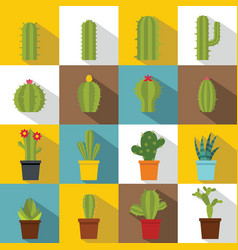 different cactuses icons set flat style vector image