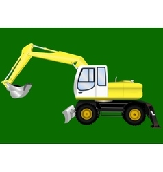 Excavator on a green background vector image