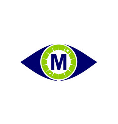 eye care solutions letter m vector image