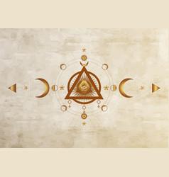 Eye providence masonic symbol moon phase sign vector