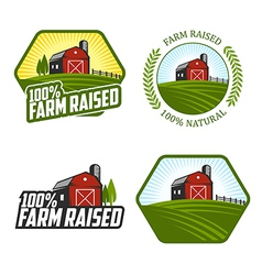 Farm raised labels and badges vector