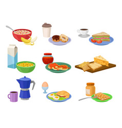 flat set of breakfast icons tasty food and vector image