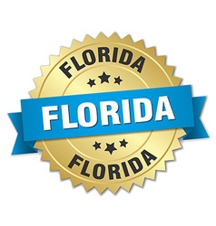 Florida round golden badge with blue ribbon vector