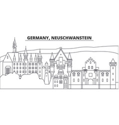 Germany neuschwanstein line skyline vector