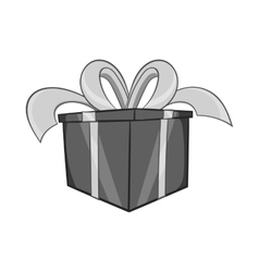 Gift in a box icon black monochrome style vector image