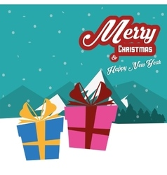 Gift with bowtie of Christmas season design vector