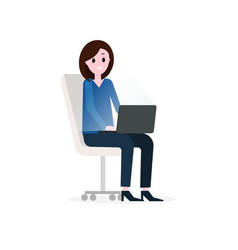 girl businesswoman working with laptop sitting vector image