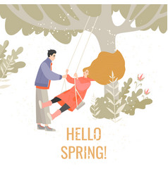 girl on a swing and guy next to her vector image