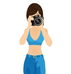 girl with camera vector image
