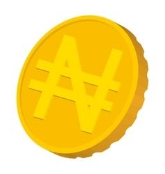 Gold coin with Nairas sign icon cartoon style vector