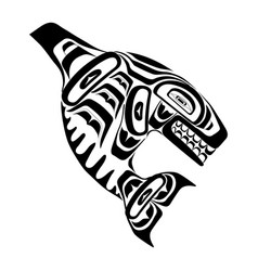 haida killer whale tattoo vector image