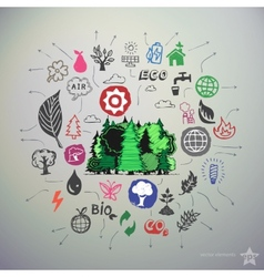 Hand drawn ecology icons set and sticker with vector image