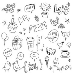 hand drawn icons vector image