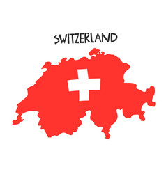 Hand drawn stylized map switzerland with flag vector
