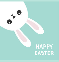 Happy easter white bunny hanging upside down vector