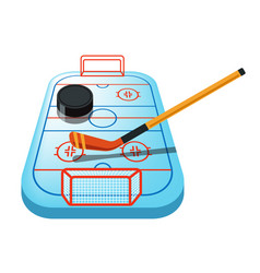 Hockey game on ice rink isolated icon puck and vector