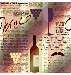 Imitation of newspaper Wine vector