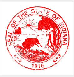 indiana seal rubber stamp vector image