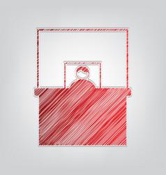 Information desk sign red gradient scribble icon vector
